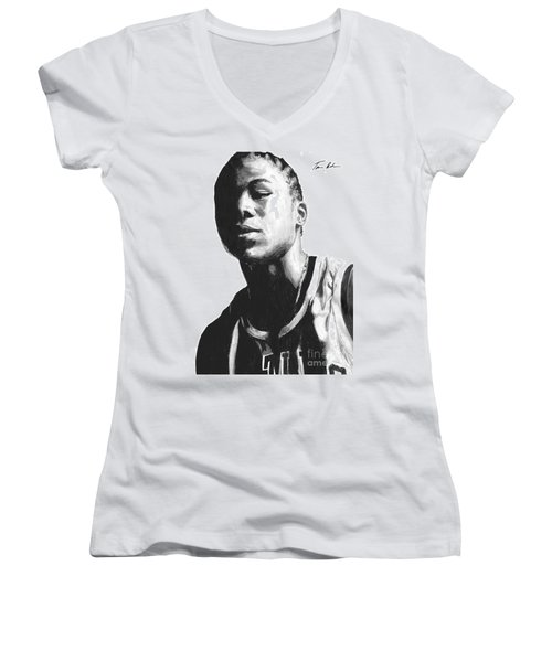Women's V-Neck T-Shirt (Junior Cut) featuring the drawing Wagner by Tamir Barkan