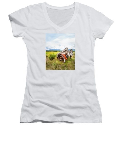 Women's V-Neck T-Shirt (Junior Cut) featuring the photograph Wagon And Wildflowers - Vertical Composition by Gary Heller