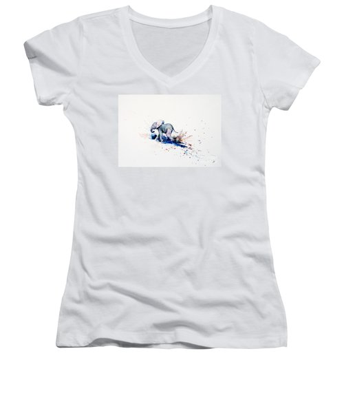Wait For Me Women's V-Neck T-Shirt (Junior Cut) by Zaira Dzhaubaeva