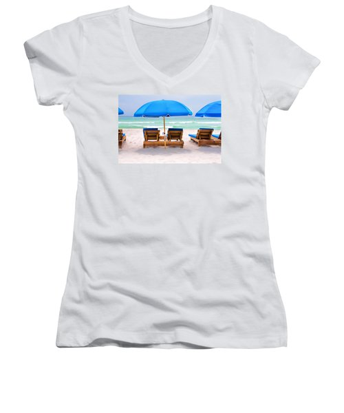Panama City Beach Digital Painting Women's V-Neck T-Shirt (Junior Cut) by Vizual Studio
