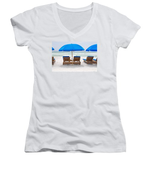 Panama City Beach Florida Empty Chairs Women's V-Neck T-Shirt (Junior Cut) by Vizual Studio