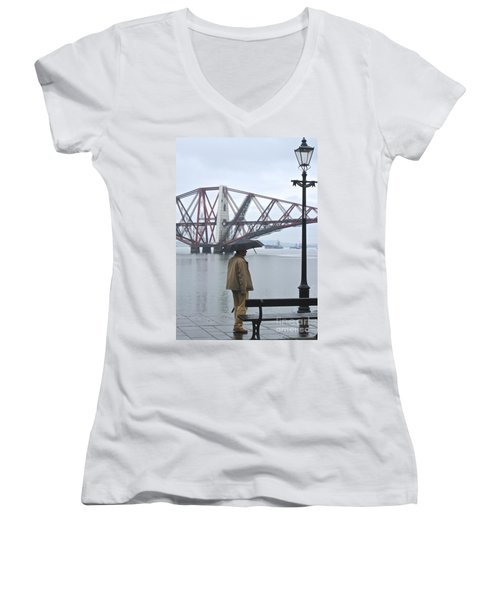 Women's V-Neck T-Shirt (Junior Cut) featuring the photograph Waiting On High Street by Suzanne Oesterling