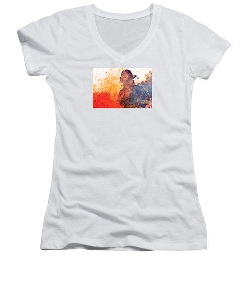 Walk Through Hell Women's V-Neck T-Shirt (Junior Cut) by Everet Regal