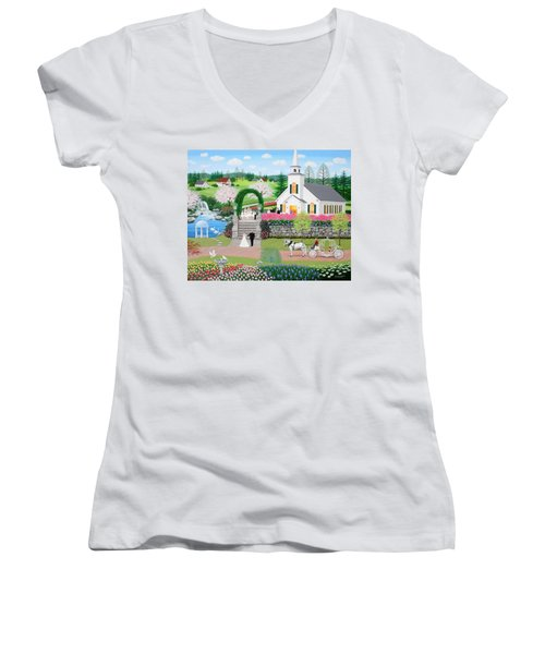 Walk With My Father Women's V-Neck (Athletic Fit)