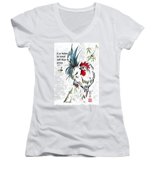 Women's V-Neck T-Shirt (Junior Cut) featuring the painting Walkabout With Buddha Quote I by Bill Searle