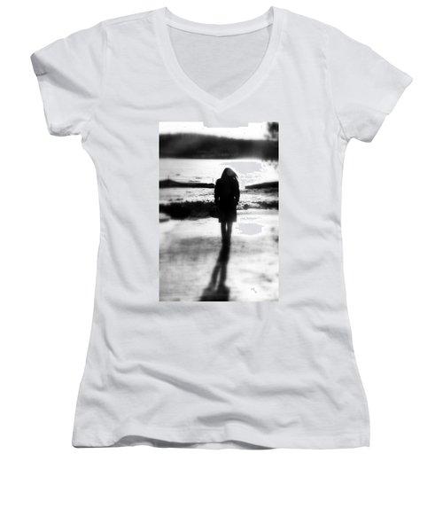 Walking Alone Women's V-Neck T-Shirt (Junior Cut) by Valentino Visentini