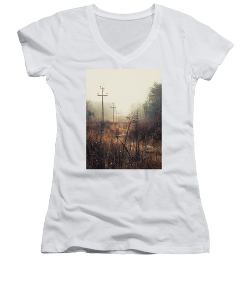 Walking The Lines Women's V-Neck T-Shirt (Junior Cut) by Jessica Brawley