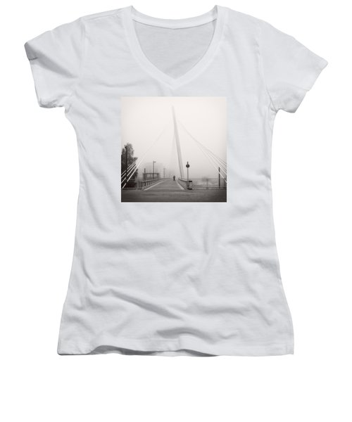 Walking Through The Mist Women's V-Neck T-Shirt