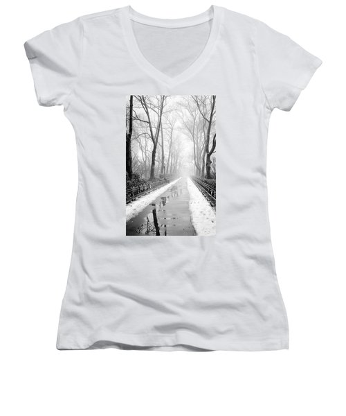Walkway Snow And Fog Nyc Women's V-Neck