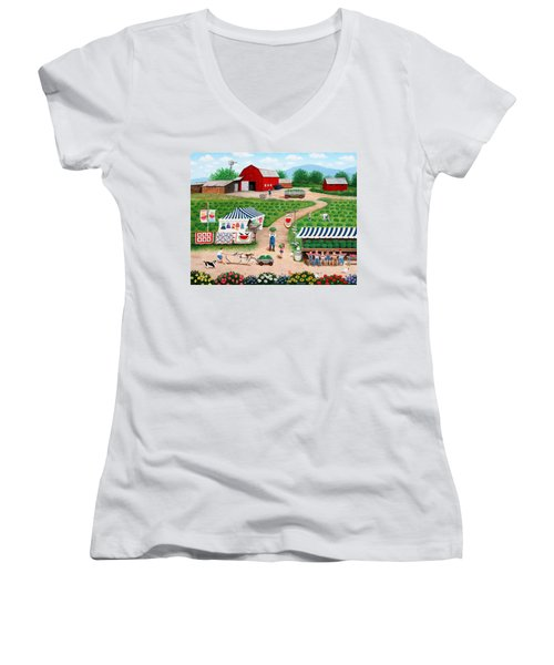 Walter's Watermelons Women's V-Neck (Athletic Fit)