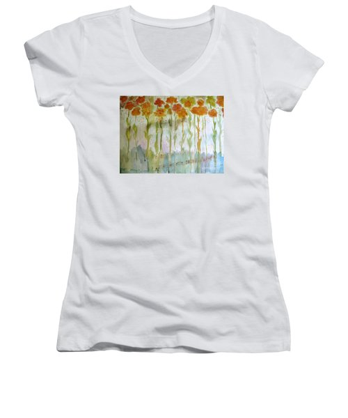 Women's V-Neck T-Shirt (Junior Cut) featuring the painting Waltz Of The Flowers by Sandy McIntire