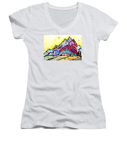 Women's V-Neck T-Shirt (Junior Cut) featuring the painting Waning Seasons In The Tetons by Nicole Gaitan