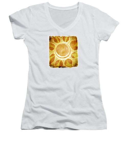 Warm Sunny Flower Women's V-Neck T-Shirt