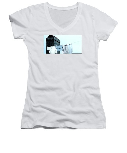 Women's V-Neck T-Shirt (Junior Cut) featuring the photograph Wash Day Blues In New Orleans Louisiana by Michael Hoard