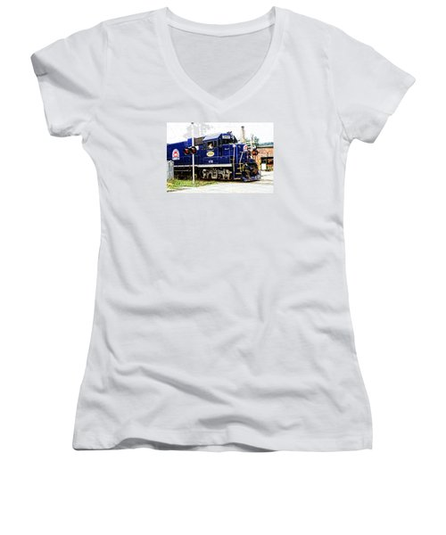 Women's V-Neck T-Shirt (Junior Cut) featuring the photograph Washington County Railroad by Mike Martin