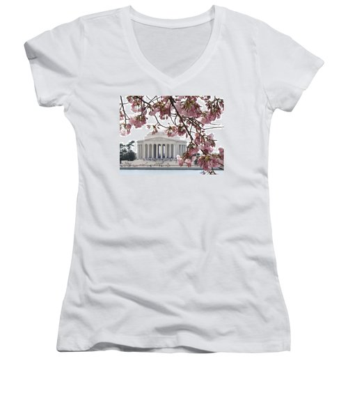 Washington Dc In Bloom Women's V-Neck (Athletic Fit)