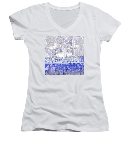 Washington Dc Skyline Abstract 3 Women's V-Neck (Athletic Fit)
