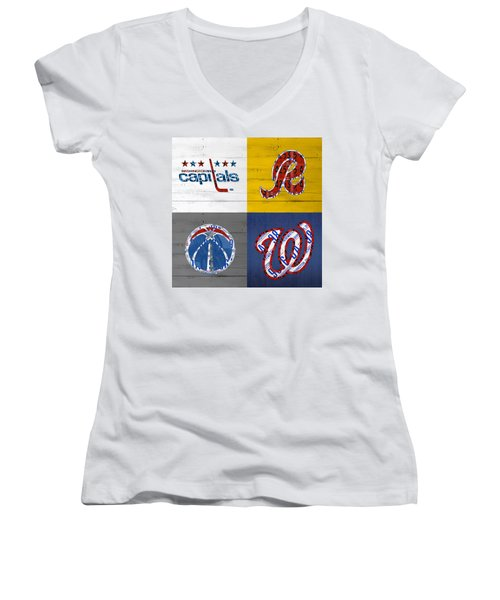 Washington Dc Sports Fan Recycled Vintage License Plate Art Capitals Redskins Wizards Nationals Women's V-Neck (Athletic Fit)
