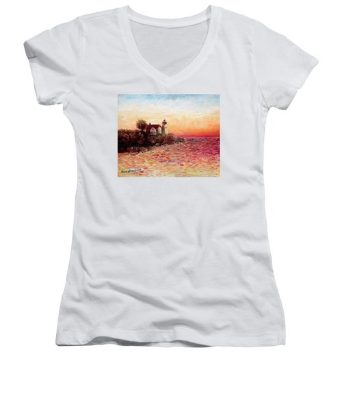 Watch Over Me Women's V-Neck T-Shirt (Junior Cut) by Shana Rowe Jackson