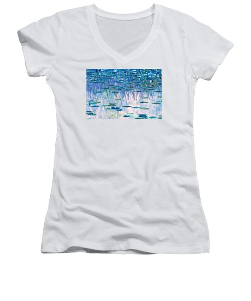 Women's V-Neck T-Shirt (Junior Cut) featuring the photograph Water Lilies by Chris Anderson