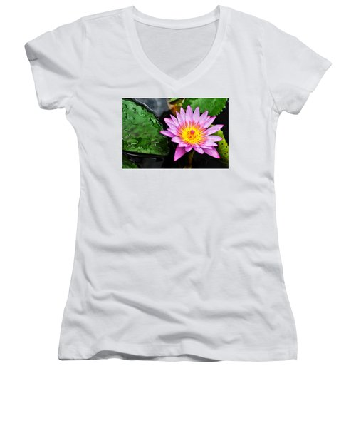 Water Lily Women's V-Neck T-Shirt (Junior Cut) by Denise Bird