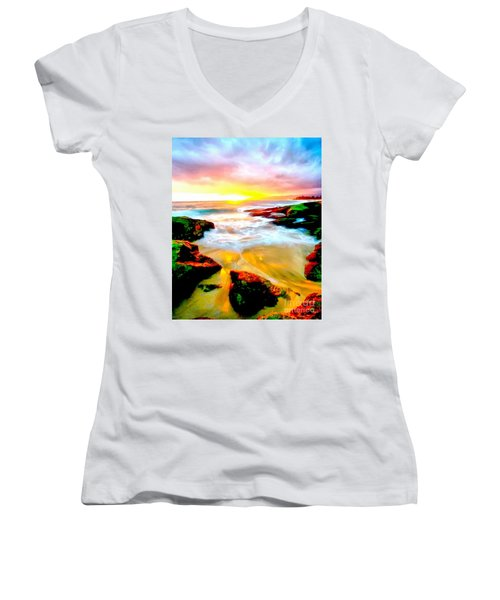 Water Runs To It Women's V-Neck T-Shirt (Junior Cut) by Catherine Lott