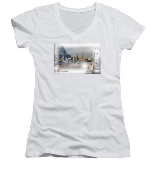 Water Way Buenos Aires Women's V-Neck T-Shirt (Junior Cut) by Diane Dugas