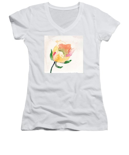 Watercolor Illustration With Beautiful Flower  Women's V-Neck T-Shirt