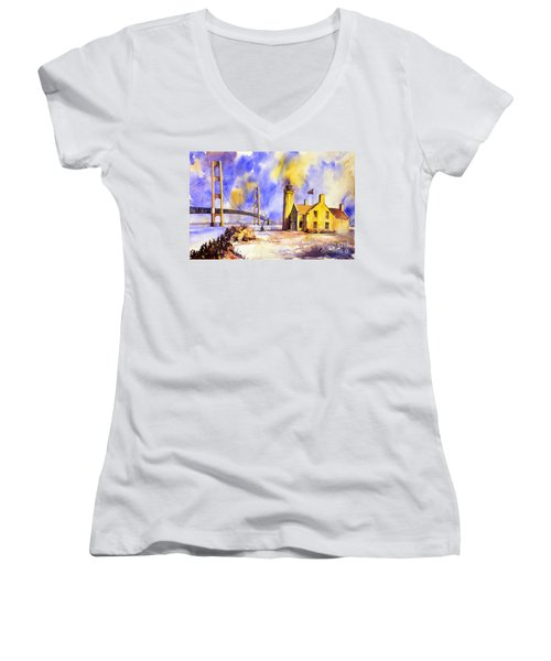 Watercolor Painting Of Ligthouse On Mackinaw Island- Michigan Women's V-Neck (Athletic Fit)