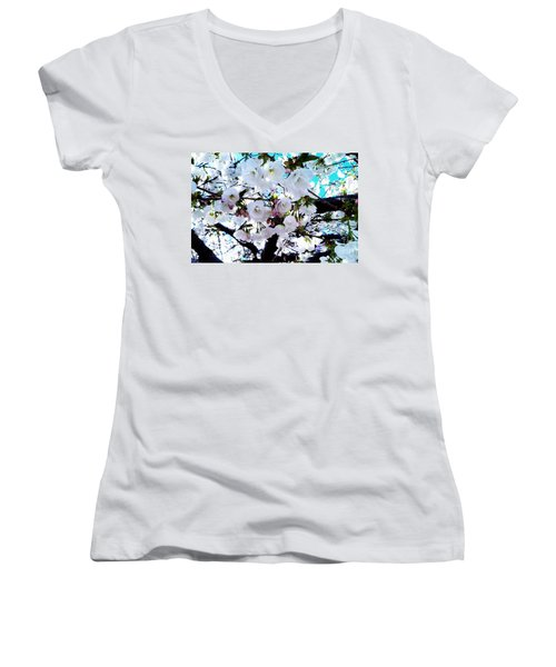 Women's V-Neck T-Shirt (Junior Cut) featuring the photograph Blanche by Vanessa Palomino