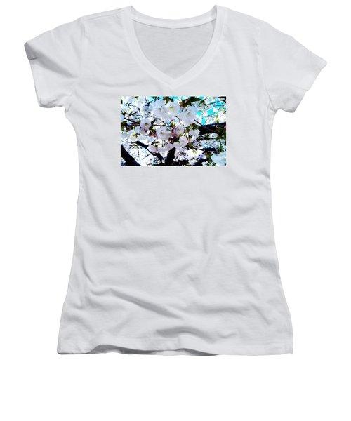Blanche Women's V-Neck T-Shirt (Junior Cut) by Vanessa Palomino