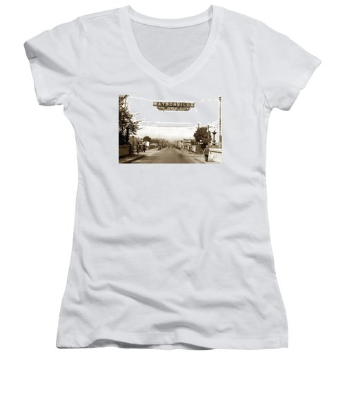 Watsonville California  The Apple City Circa 1926 Women's V-Neck T-Shirt (Junior Cut) by California Views Mr Pat Hathaway Archives