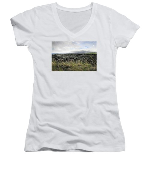 Women's V-Neck T-Shirt (Junior Cut) featuring the photograph Waves Of Clouds Sea Lava And Grass by Ellen Cotton