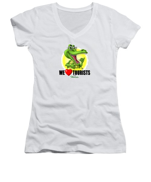 Women's V-Neck T-Shirt (Junior Cut) featuring the digital art We Love Tourists Gator by Scott Ross