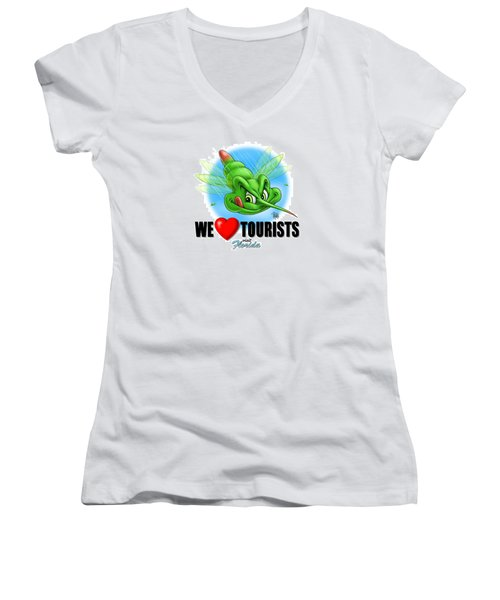 Women's V-Neck T-Shirt (Junior Cut) featuring the digital art We Love Tourists Mosquito by Scott Ross