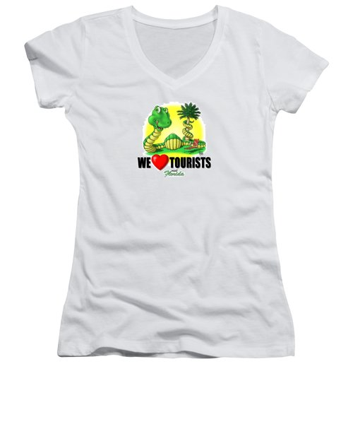 Women's V-Neck T-Shirt (Junior Cut) featuring the digital art We Love Tourists Snake by Scott Ross
