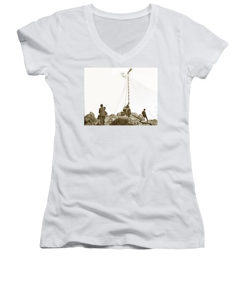 Women's V-Neck T-Shirt (Junior Cut) featuring the photograph Weather Station Mount Tamalpais Marin County California Circa 1902 by California Views Mr Pat Hathaway Archives