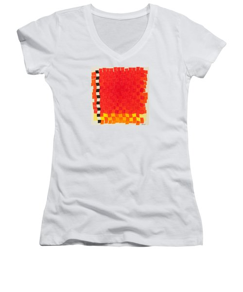 Women's V-Neck T-Shirt (Junior Cut) featuring the painting Weave #2 Sunset Weave by Thomas Gronowski