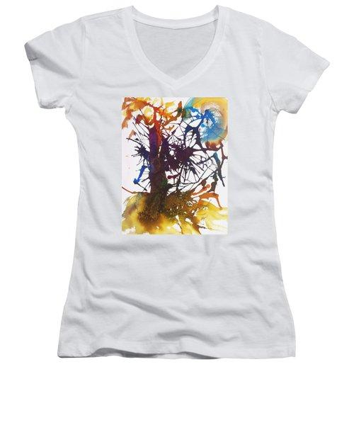 Web Of Life Women's V-Neck T-Shirt (Junior Cut) by Ellen Levinson