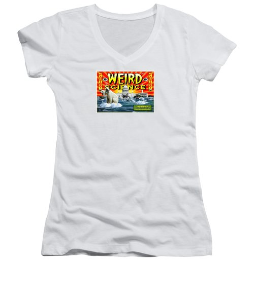 Women's V-Neck T-Shirt (Junior Cut) featuring the digital art Weird Science by Scott Ross