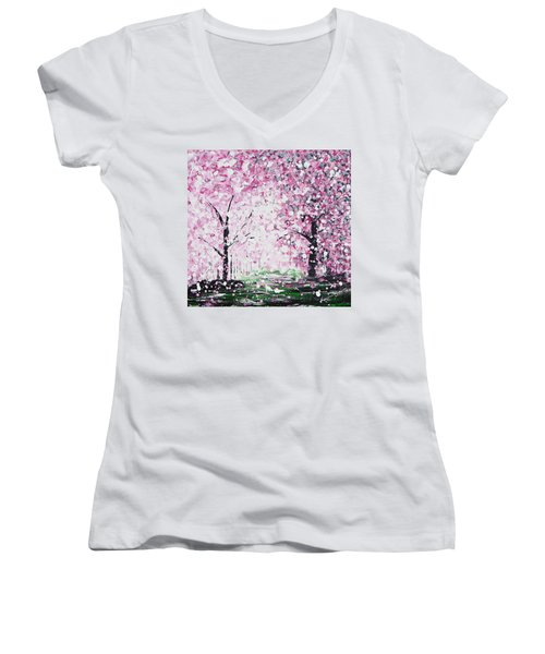 Welcome Spring Women's V-Neck T-Shirt (Junior Cut) by Kume Bryant