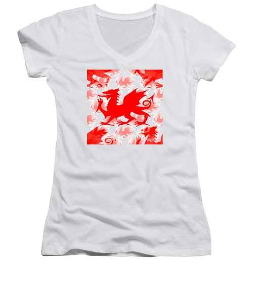 Welsh Dragon Women's V-Neck T-Shirt
