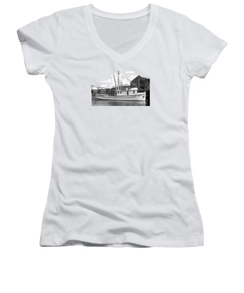 Western Flyer Purse Seiner Tacoma Washington State March 1937 Women's V-Neck T-Shirt (Junior Cut) by California Views Mr Pat Hathaway Archives