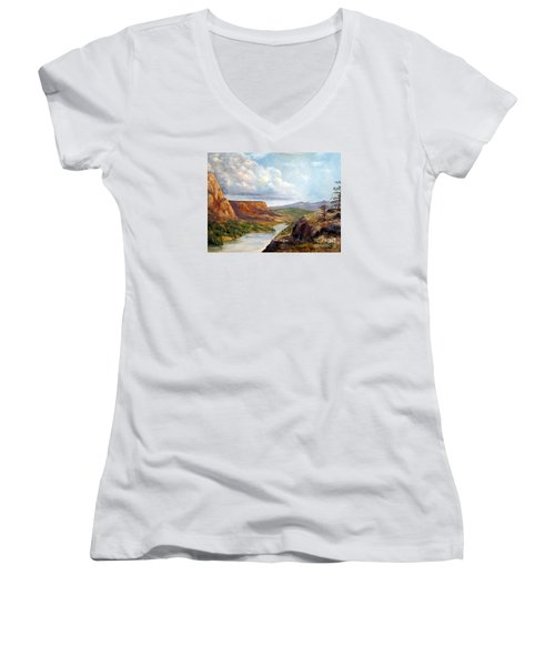 Western River Canyon Women's V-Neck T-Shirt
