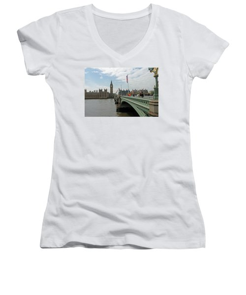 Westminster Bridge Women's V-Neck T-Shirt (Junior Cut) by Tony Murtagh