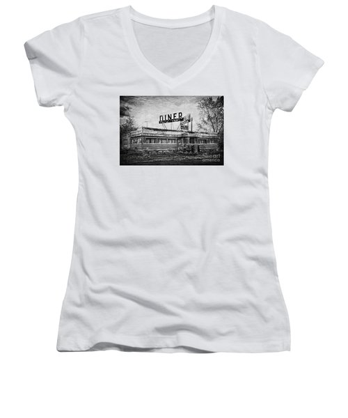 Women's V-Neck T-Shirt (Junior Cut) featuring the photograph What Is On The Menu by Debra Fedchin