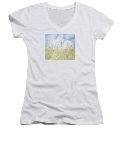 Wheat Field And Wildflowers Women's V-Neck (Athletic Fit)
