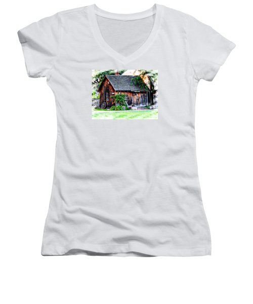 Wheel Shop Women's V-Neck T-Shirt (Junior Cut) by Marcia Lee Jones