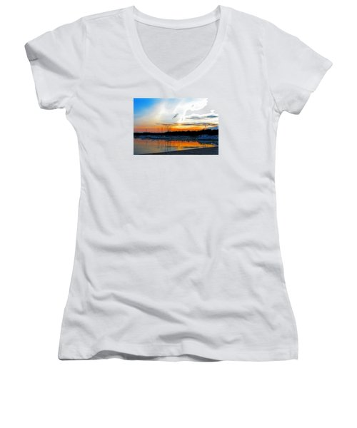 When The Sun Goes Down Women's V-Neck T-Shirt (Junior Cut) by Susan  McMenamin