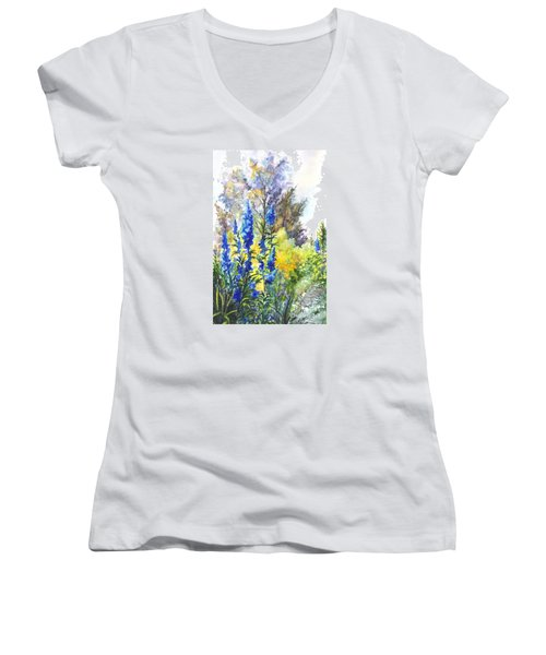 Where The Delphinium Blooms Women's V-Neck T-Shirt (Junior Cut) by Carol Wisniewski